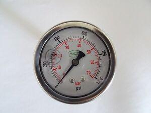 """0-1000 psi 63 mm Glycerine Filled Pressure Gauge 1/4"""" Back Entry"""