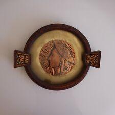 Médaillon cuivre copper fait main handmade ethnic figure art déco XXe PN France