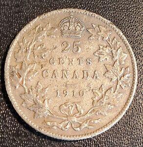 Canada 1910 25 Cents - Silver - Edward VII