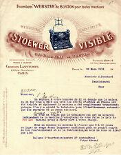 Facture Lettre 1912 - Machine à Ecrire STOEWER -