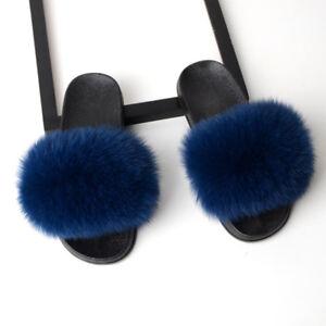 Large Fluffy Real Fox/Raccoon Fur Women's Slippers Shoes Flat Slides Sandal Hot