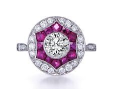 8mm Off White Yellow Moissanite & Pink Sapphire Art Deco Sterling silver ring