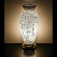 Fabulous  Mosaic Glass Crackle White Vase Lamp