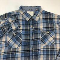 Weatherproof Button Up Shirt Men's 2XL XXL Long Sleeve Blue Tan Plaid Flannel