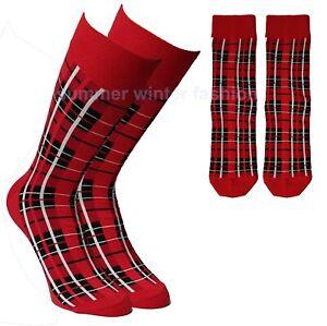 Mens & Women Scottish Red Tartan Comfortable Soft Cotton Ankle Socks UK 6-11