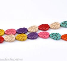 10 perles feuille en HOWLITE couleurs variées 18 x 12 mm