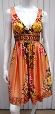 NWT Forever 21 Beautiful Embroidered Floral Print Dress Size S Small Orange