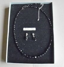 Onyx boxed necklace set with STERLING SILVER ends & studs  NS31
