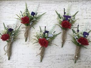 Scottish Thistle Red Rose Buttonhole, Rustic Hessian Vintage Wedding Flowers X1