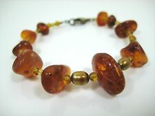 Vintage Genuine Baltic Honey Amber Beaded Bracelet 925 Sterling Silver Findings