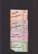 PENN UNIVERSITY GROUP OF 4 1940'S FOOTBALL TICKET STUBS-COLUMBIA, VIRGINIA,ETC.