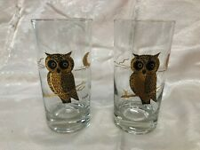 2 Vintage Courac High Ball Glasses~Gold Owl and Half Moon~Mid Century 1960's