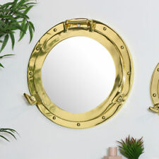 Large gold metal porthole style wall mirror nautical living room bathroom decor