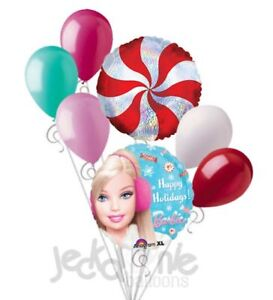 7 pc Winter Barbie Happy Holidays Balloon Bouquet Party Decoration Gift Doll