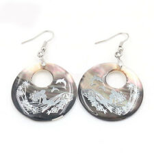Huge Natural Mermaid Carved Shell Gemstone Silver Dangle Hook Earrings Jewelry