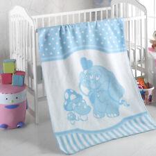 Kuscheldecke Babydecke Wagendecke Baumwolle 75 x 100 cm babyweich Elefant blau