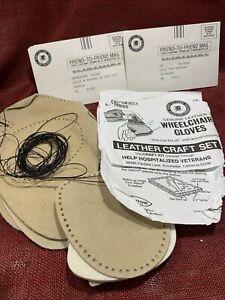 Arrow Wheelchair Glove Craft Kit Hospitalized Veterans Tan Leather Vtg New
