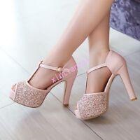 Lady Glitter Sequin Bing Bing Peep Toe T Strap Platform High Heels Sandals UK2-8