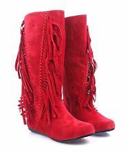 LILIANA 3 Color Zipper Closure Faux Suede Fringes Décor Womens Mid-Calf Boots
