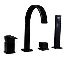 Deck Mounted Black Waterfall Spout Bathtub Filler Roman Tub Faucet&Hand Shower