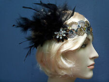 1920 Black Silver Gold Flapper Gatsby Feather Crystal Headband Hair Burlesque