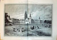 Antique Old Print 1894 England School Charterhouse Godalming Children Cricke