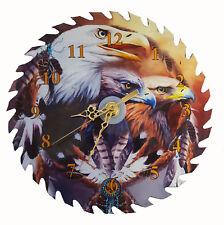 "Bald Eagles 7 1/4"" Saw Blade Native American Clock"