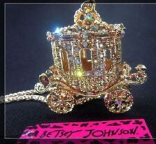 Betsey Johnson Bling Princess Carriage Car Pendant Long Necklace!bj67