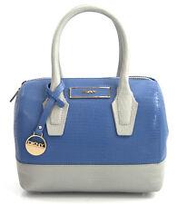 NWT DKNY Donna Karan Grey Purple Small Lizard Leather Convertible Satchel Bag
