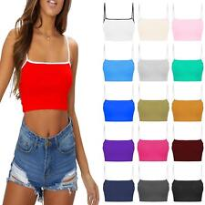 a6a245f59af03c New Womens Contrast Strappy Vest Cami Tee Bralet Gym Sports Running Bra Crop  Top