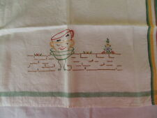 Antique Vintage Irish Linen cloth embroidered Tea Towel Humpty Dumpty cups trio
