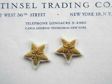"2 Vintage Gold Metallic Bullion Stars Applique on White Felt 1"""