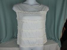 Talbots Top Blouse 12  All Cotton Sleeveless Ruffles White Bust 38 NWT