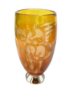 Naoko Takenouchi (Japanese 20th Century) Etched Glass Vase, Autumn Poppy Signed