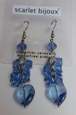 Ohrhänger nickelfrei Ohrringe 7 cm blau Herz Perlen facettiert *NEU*
