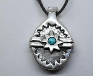 JESSICA FELIX Alaskan Eskimo Turquoise STAR SUN Sterling Silver Whistle Pendant