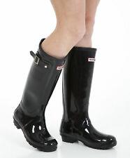 Womens Wellies - Ladies Glossy Black Wellington Boots - Size 7 UK - EU 41