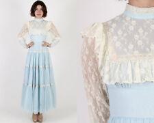Vintage 70s Gunne Sax Light Blue Sheer Floral Lace Boho Wedding Party Maxi Dress