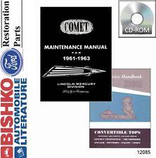 1961 1962 1963 Mercury Comet Shop Service Repair Manual CD Engine Drivetrain OEM