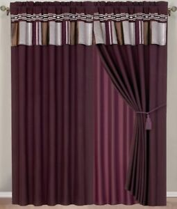 Claudia Luxury 7 PC Comforter Set Color Style Purple, Chocolate and Gray