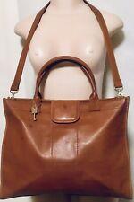 Fossil Unisex Defender Portfolio Messenger Bag Briefcase Brown Congac Leather!