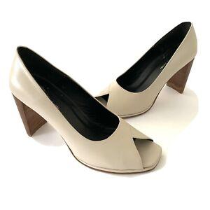 Amanda Smith Hanna Cream Leather Square Peep Toe Pumps Heel Ladies Shoes Sz 9