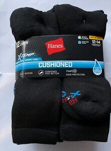 Hanes BIG & TALL X-Temp 12 Pairs  Crew Black Socks Size 12-14