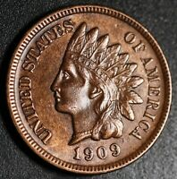 1909-S INDIAN HEAD CENT - W LIBERTY & Near 4 DIAMONDS - AU UNC *KEY TO THE SET*