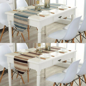 Dinning Room Colorful Stripes Dustproof Table Runner Wedding Party With Tassels