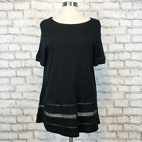 Old Navy Women's Black Short Sleeve Boho Stretch Fit Tunic Shirt Size Large
