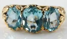 LARGE 9CT 9K GOLD SKY BLUE TOPAZ 3 STONE TRILOGY ART DECO INS RING FREE RESIZE