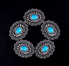 10PCS 35*28MM Western Antique Silver Flower Turquoise Conchos For Leatherworking