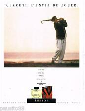PUBLICITE ADVERTISING 105  1986  NINO CERRUTI  parfum pour homme FAIR PLAY