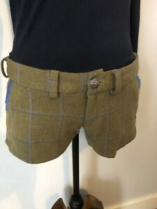 Green Timothy Foxx Designer Tweed Shorts With Polka Dot Patches White/Blue